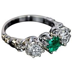 Emerald Diamond Platinum Three-Stone Ring, 1930s