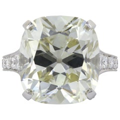 12.85 Carat Cushion Cut Diamond Ring