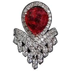 4.44 Carat Burmese Ruby Spinel and 1.7 Carat Diamond Ring
