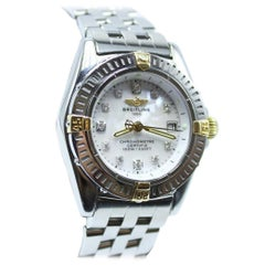 Breitling Callistino B72345 18K Yellow Gold & Stainless Steel MOP Diamond Dial