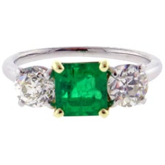 Cartier Emerald and Diamond Three-Stone Ring