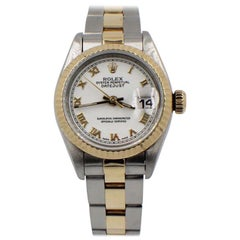 Rolex Ladies Datejust 69173 18 Karat Yellow Gold and Stainless Steel White Dial