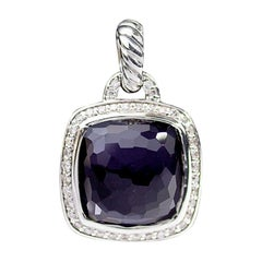 David Yurman Sterling Silver Black Orchid and Diamond Albion Pendant Enhancer