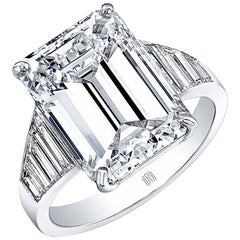 GIA Certified 8.15 Carat J/ VS2 Emerald Cut Diamond Engagement Ring