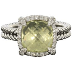 David Yurman Chatelaine Cushion Cut Lemon Citrine and Diamond Halo Ring