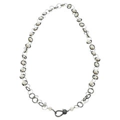 Genuine Akoya Pearl Necklace with Bright and Black Sterling Silver Chain