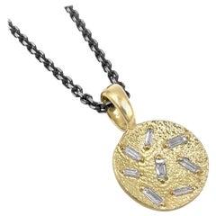 Elizabeth Garvin Fine White Diamond Baguette Concave Coin Gold Drop Necklace