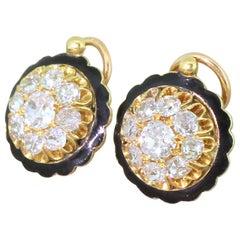 Victorian 2.55 Carat Old Cut Diamond and Black Enamel Cluster Earrings