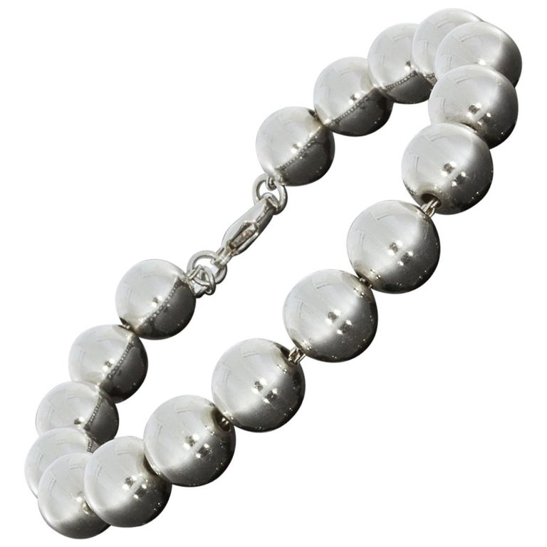 Tiffany Co Hardwear Sterling Silver Bead Ball Bracelet For