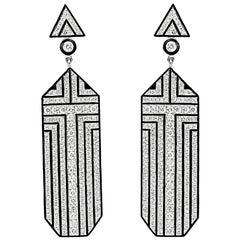 Umrao Art Deco Style Diamond Earpendants
