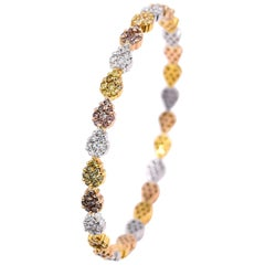 Vivaan 5.89 Carat Multicolored Diamonds and 18K Three Tone Gold Bangle Bracelet