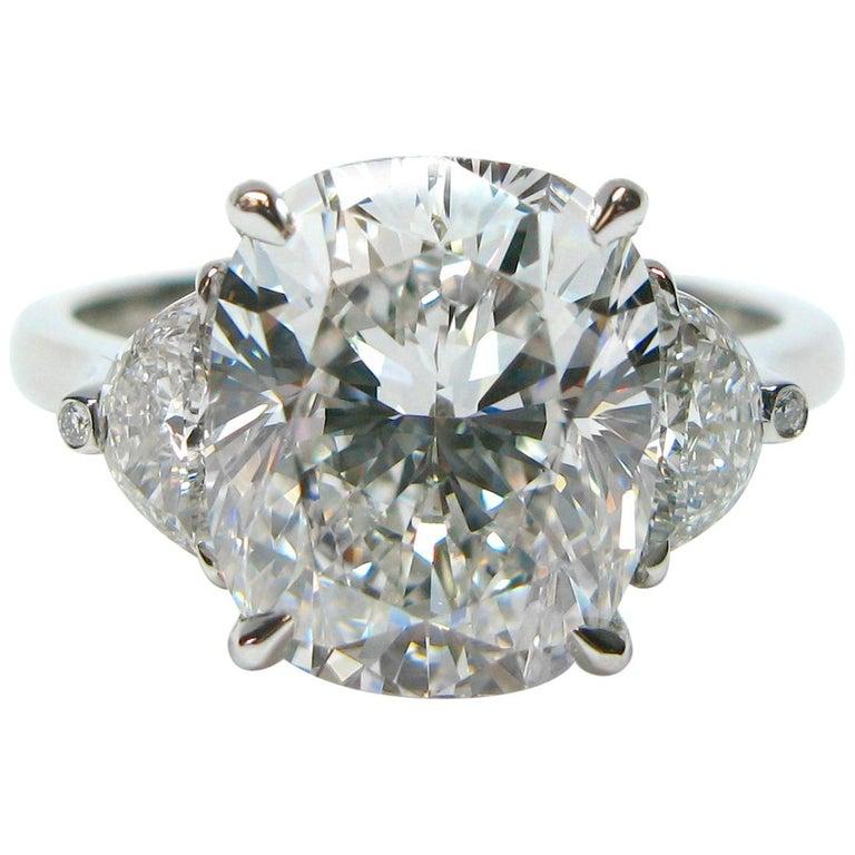 J. Birnbach GIA Certified 4.37 Carat Cushion E VS1 Diamond Ring For Sale