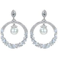 Studio Rêves 18 Karat Gold, Diamonds and South Sea Pearls Dangling Earrings