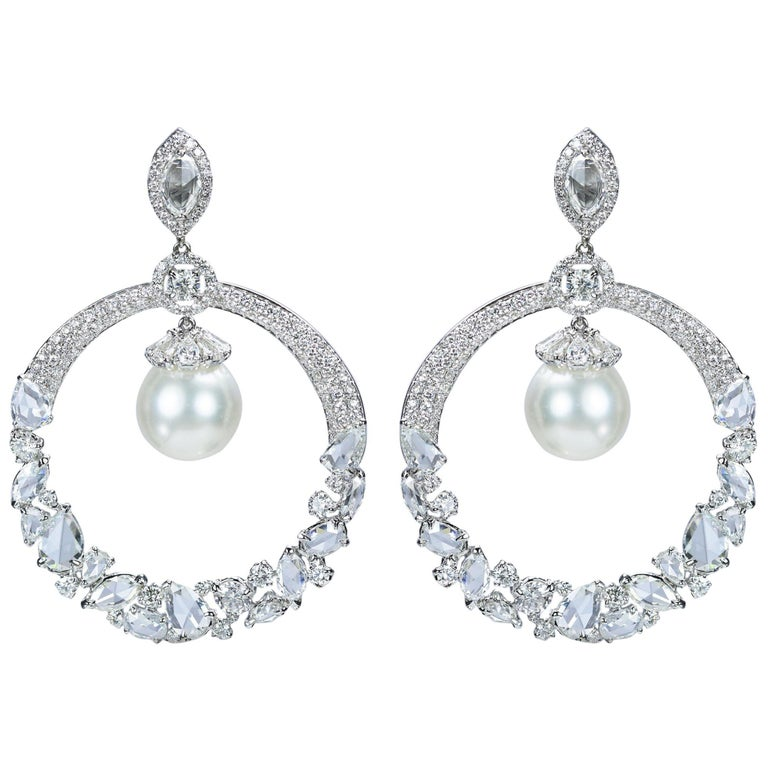 Studio Rêves 18 Karat Gold, Diamonds and South Sea Pearls Dangling Earrings For Sale