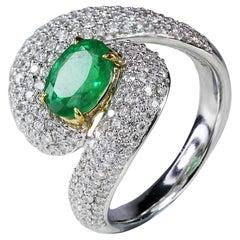 Studio Rêves 18 Karat Gold, 1.32 Carat Emerald and Diamond Ring