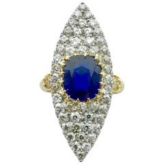 Antique Sapphire Diamond Platinum Gold Ring