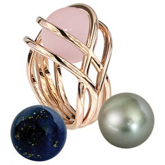 Certified 18 Karat Rose Gold 3 Way Gemstone Pearl Pink Quartz Diamond Ring