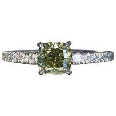 Robert Vogelsang Fancy 1.18 Carat Diamond Cushion Platinum Engagement Ring
