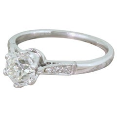 Art Deco 0.90 Carat Old Cut Diamond Platinum Engagement Ring