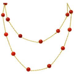 Victorian Coral Bead 18 Karat Gold Necklace