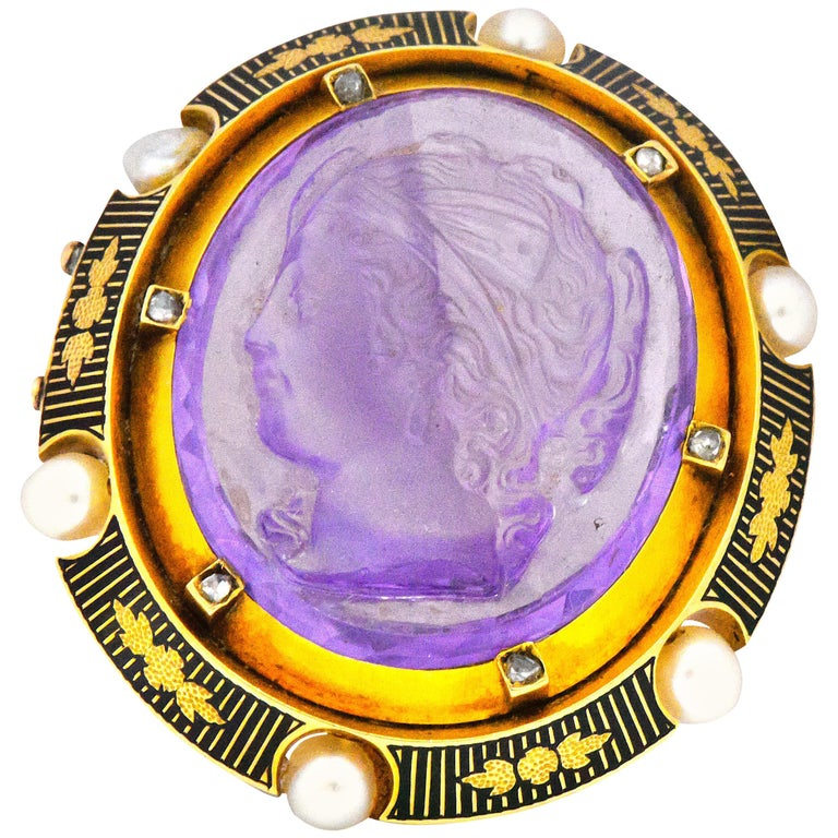 Victorian Amethyst Diamond Natural Pearl Diamond 18 Karat Gold Cameo Brooch