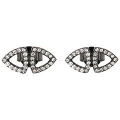 Rhodium and White Diamonds Elements Stud Earrings