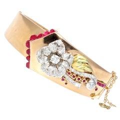 Retro Ruby Diamond Gold Bangle