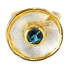 Yianni Creations 1.55 Carat Blue Topaz Diamond Fine Silver 24 Karat Gold Ring