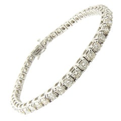 18 Karat White Gold Diamond Tennis Bracelet 5.98 Carat
