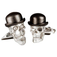 Deakin & Francis Sterling Silver Skull Cufflinks with Bowler Hat and Umbrella