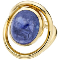Lilly Hastedt 18 Karat Yellow Gold Blue Tanzanite Cabochon Cocktail Wave Ring