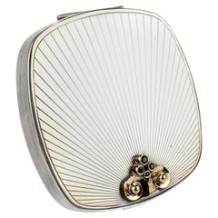 Tiffany & Co. Sterling Gold and Sapphires Mid-Century Modern Compact