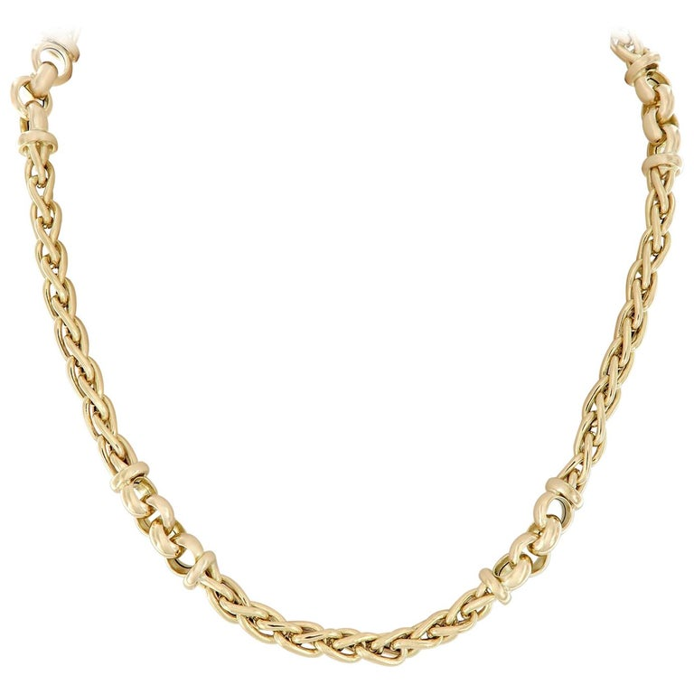 Vergano Woven Link Yellow Gold Necklace For Sale