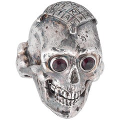 Bernardo Silver and Garnet Large Skull Ring with Sator Square