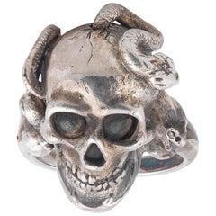 Bernardo Silver Snake and Mouse Skull Ring