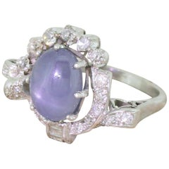 Avant Garde 7.63 Carat Ceylon Star Sapphire and Diamond White Gold Ring