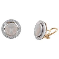 Pair of Moonstone and Diamond Earstuds