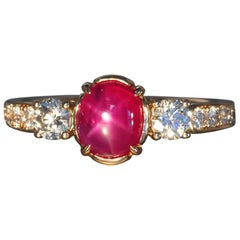 Robert Vogelsang 1.63 Carat Natural Star Ruby Diamond Rose Gold Engagement Ring
