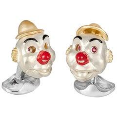Deakin & Francis Sterling Silver Clown Cufflinks