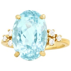 7.0 Carat Aquamarine and Diamond Set Gold Ring