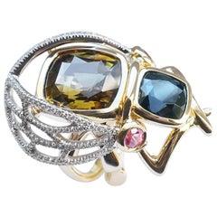 Coralie Van Caloen 18k Gold Spinel, Chrysoberyl, Garnet And Diamonds Insect Ring