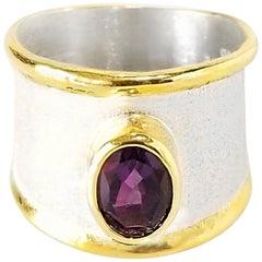 Yianni Creations 1.75 Carat Amethyst Fine Silver 24 Karat Gold Ring