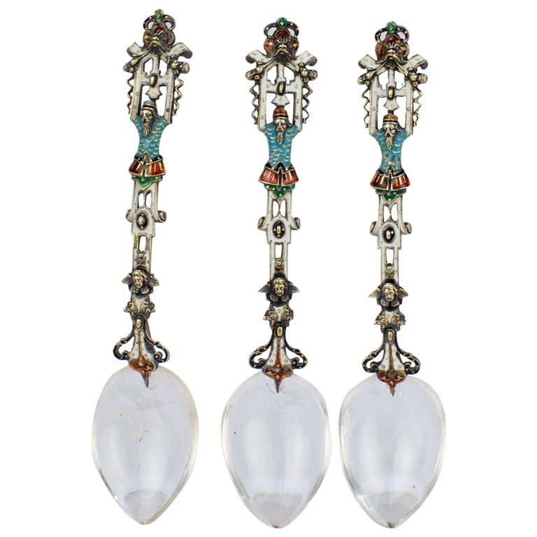 3 Antique Viennese Enamel Silver and Rock Crystal Spoons, Hermann Ratzersdorfer