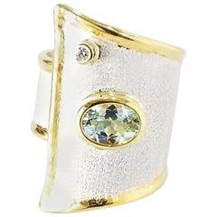 Yianni Creations 1.10 Carat Aquamarine Diamond Fine Silver 24 Karat Gold Ring