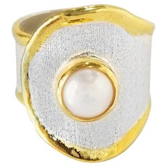 Yianni Creations 7 MM Pearl Fine Silver and 24 Karat Gold Handmade Ring