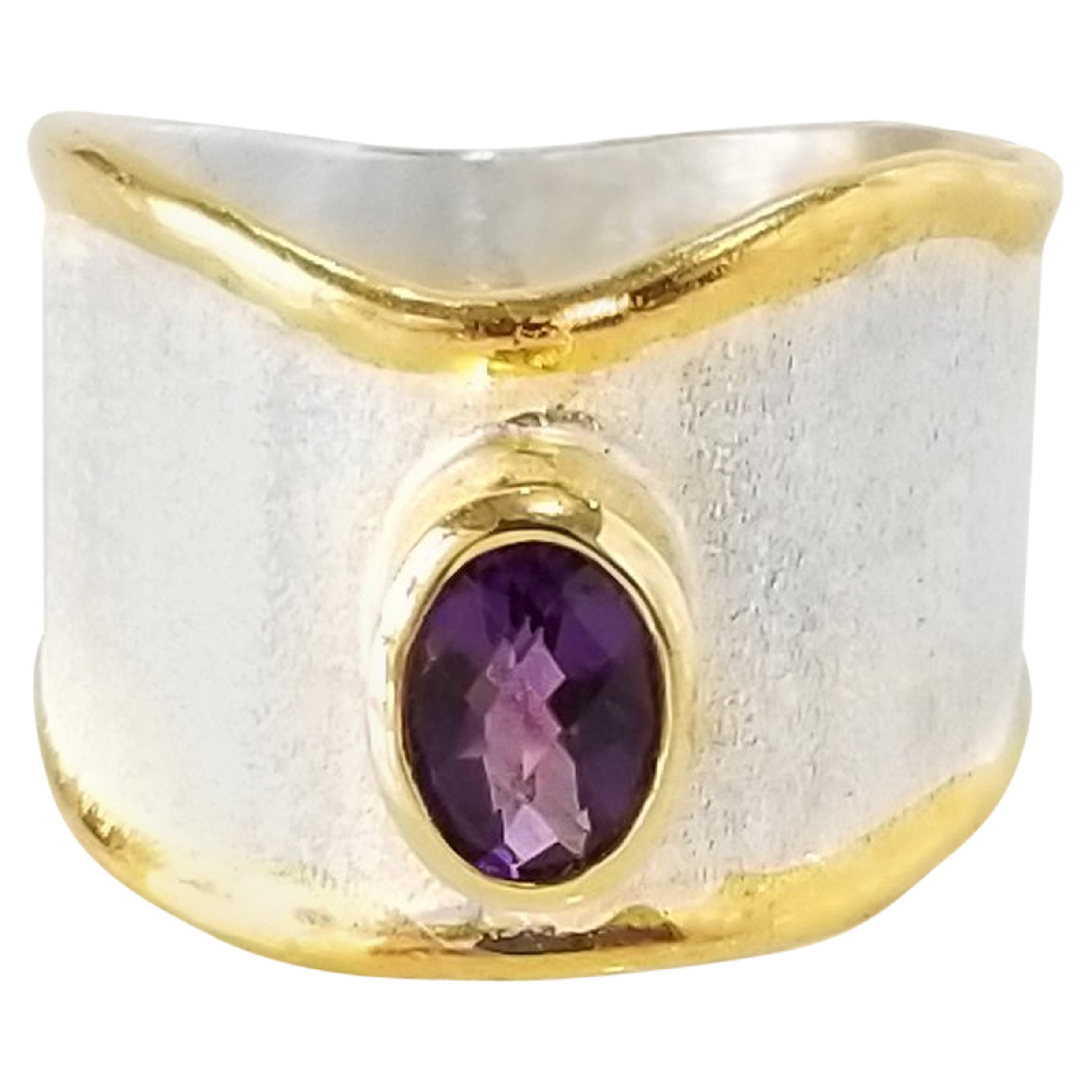 Yianni Creations 0.85 Carat Amethyst Fine Silver and 24 Karat Gold Artisan Ring