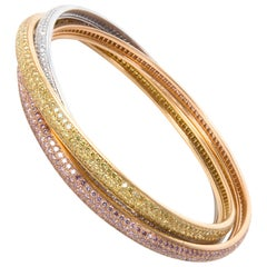 Cartier Diamond Trinity Bracelet in White, Pink and Yellow Diamonds 15.15 Carat