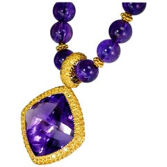 Alex Soldier Amethyst Yellow Sapphire Gold Pendant Necklace Enhancer