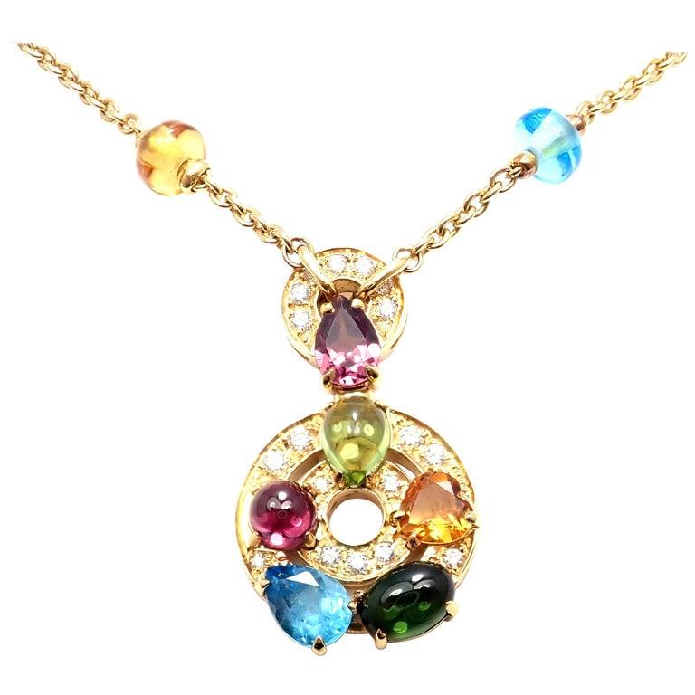 Bulgari Astrale Diamond Color Stone Yellow Gold Pendant Necklace