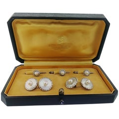Mikimoto Art Deco Silver Mother-of-Pearl Cufflinks and Shirt Stud Set